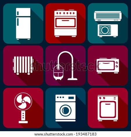 Home appliance icons set, white on colorful buttons, flat with long shadow, vector illustration. - stock vector