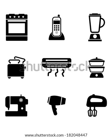 Home appliance icons set with on oven, telephone, liquidizer, toaster, heater, steamer, sewing machine, hairdryer and egg beater, black and white vector silhouettes - stock vector