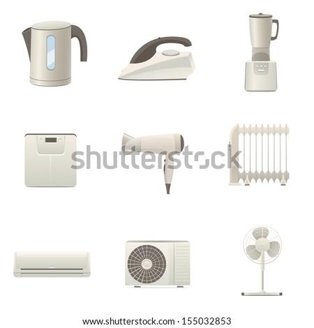 Home appliances collection - stock vector