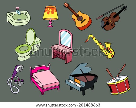 Home appliances Hand-drawn look simple and classic. - stock vector
