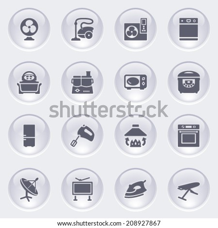 Home appliances icons on glossy buttons. - stock vector