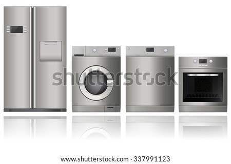 Home appliances. Set of household kitchen technics:  electric Oven, Dishwasher, refrigerator,  washing machine. Vector Illustration isolated on white background. - stock vector
