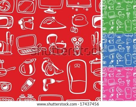 Home appliances symbols seamless - stock vector