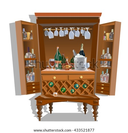 Home bar Cabinet. Vector. - stock vector