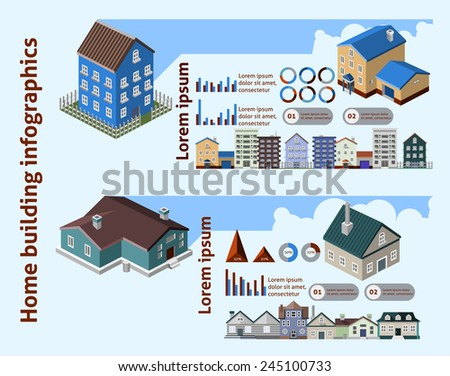Home building infographics with isometric houses and charts vector illustration - stock vector