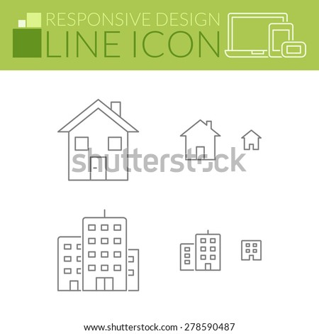 Home & building. Thin line icons. Responsive design for all devices. - stock vector