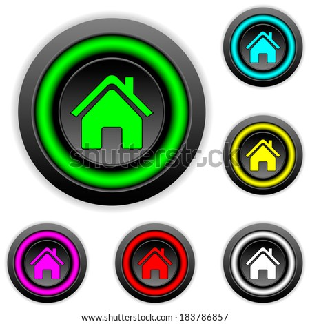 Home buttons set on white background - stock vector