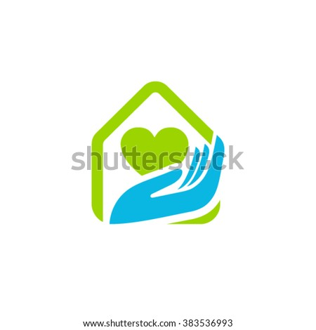 Home care cleaning service logo idea - stock vector