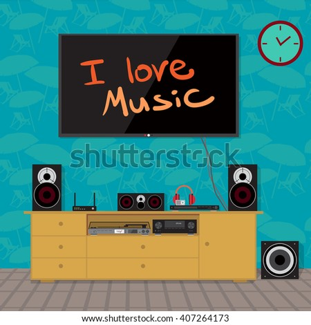 Home cinema system in interior room. Home theater flat vector illustration. TV, loudspeakers, player, receiver, subwoofer, vinyl turntable for home movie theater and music in the apartment - stock vector