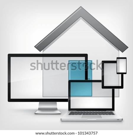 Home Concept. Information Medium on Grey Gradient Background. Vector. - stock vector