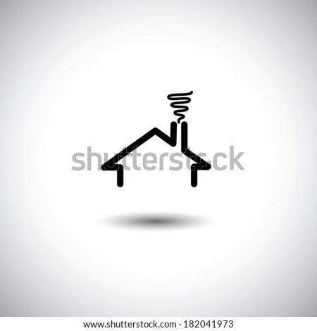 home concept vector icon with roof, chimney & smoke. This graphic can also represent real estate property, flat, apartment, residence, etc - stock vector