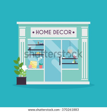 Home decor facade. Decor shop. Ideal for market business web publications and graphic design. Flat style vector illustration. - stock vector