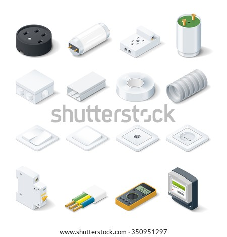 Home electric isometric icon set vector graphic illustration - stock vector