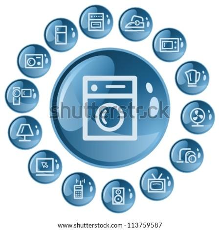 Home electronics button set - stock vector