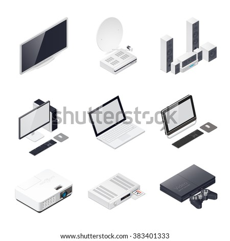 Home entertainment devices isometric icon vector graphic illustration - stock vector
