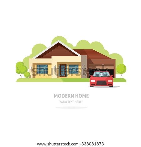 Home facade contemporary modern flat style. House traditional cottage vector  illustration. Bright family home front view with trees, garden, garage, sport car. Lovely home landscape card or postcard - stock vector
