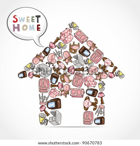 home furniture card - stock vector