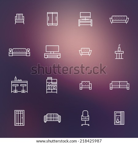 Home furniture icons set Eps10 - stock vector