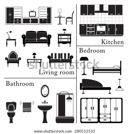 Home Furniture Icons Set Living Room Bedroom Kitchen And Bathroom Interior