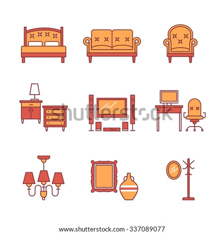 Home furniture signs set. Thin line art icons. Flat style illustrations isolated on white. - stock vector
