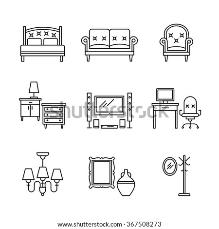Home furniture signs set. Thin line art icons. Linear style illustrations isolated on white. - stock vector