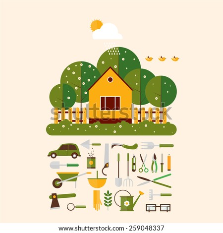 Home gardener and set icons garden accessories. Landscape with trees and house sun. Ecology clean air. Flat design vector illustration. - stock vector
