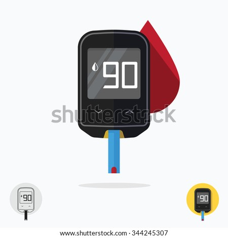 Home glucometer diabetes flat pharmacy concept, medical measuring portable technology analysis hypoglycemic glycemic, glucose test tool isolated white background modern design vector illustration - stock vector