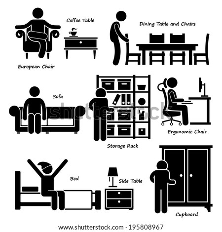 Home House Furniture Stick Figure Pictogram Icon Cliparts - stock vector