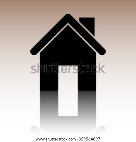 Home icon. Black vector illustration with reflection. - stock vector
