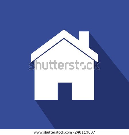 Home icon - blue . Vector illustration with long shadow. Eps 10. - stock vector