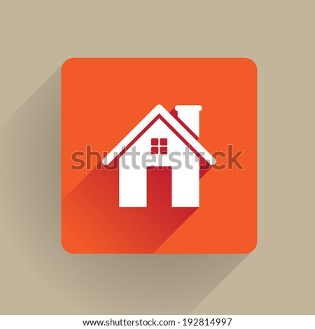 Home icon in flat design - stock vector