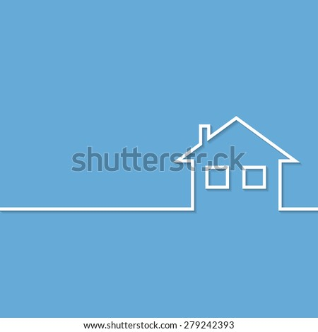 Home Icon on blue background. Illustration Vector. - stock vector