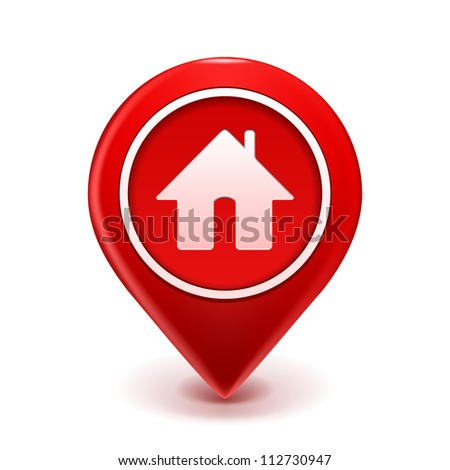 Home Icon Pin Deal. Vector illustration isolated on white - stock vector