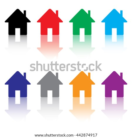 Home Icon Set With Reflection - stock vector