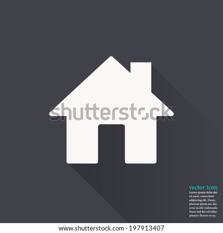 Home icon ,Vector illustration flat design with long shadow - stock vector