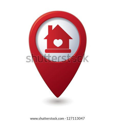 Home icon with heart icon on the red map pointer. Vector illustration - stock vector