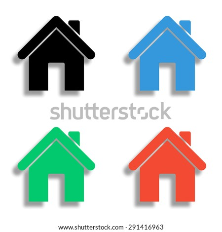 home icon with shadow - colored vector set - stock vector