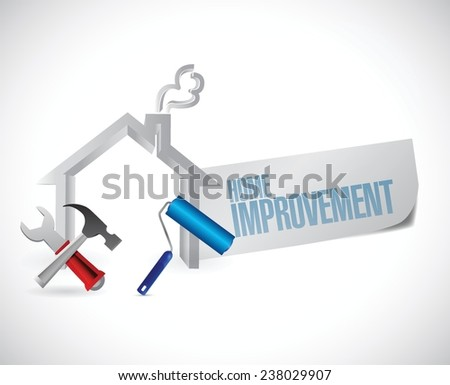 home improvement sign and tools. illustration design over a white background - stock vector