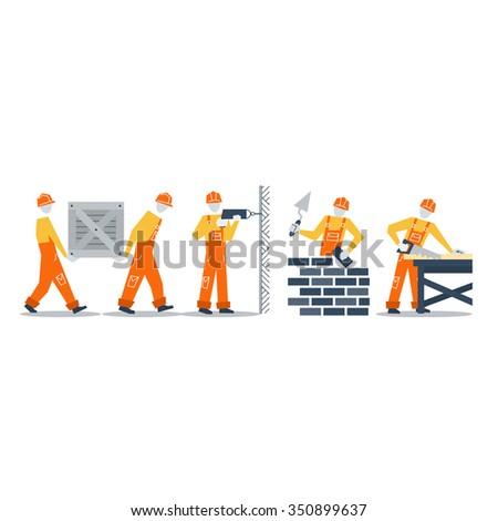 Home improvement workers. Construction workers. - stock vector