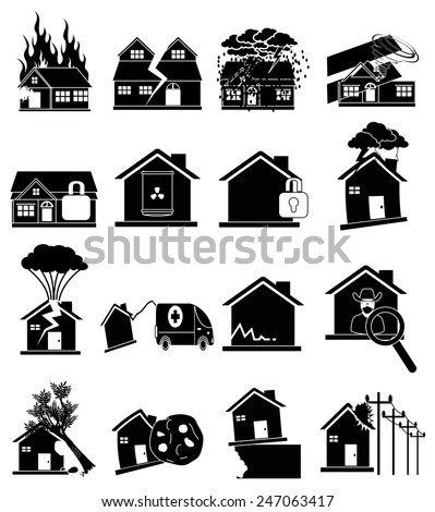 Home insurance icons set - stock vector