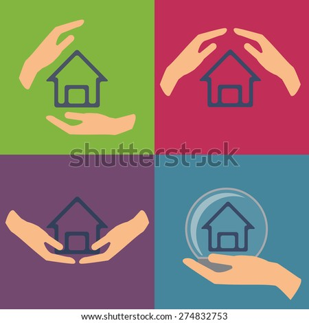 Home insurance set vector illustration with house and hands.  - stock vector