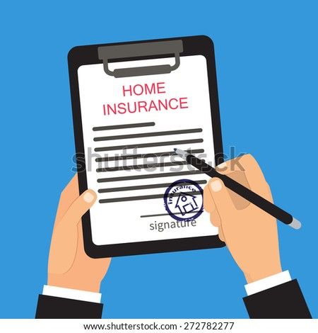 Home insurance vector illustration. Hands holding and signing document - stock vector