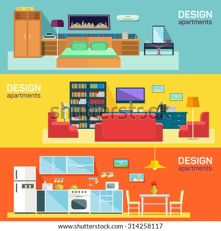 Home interior design for kitchen bed and sitting rooms furnishing flat banners set abstract isolated vector illustration - stock vector