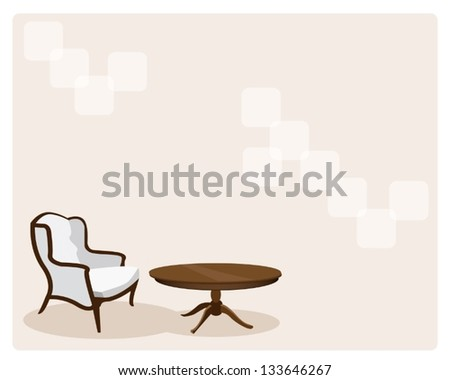 Home Interior, Elegant Template of Vintage Deco Leather Chair and Wooden Table on Brown Background with Copy Space for Text Decorated - stock vector
