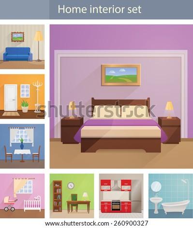 Home interiors vector set - stock vector