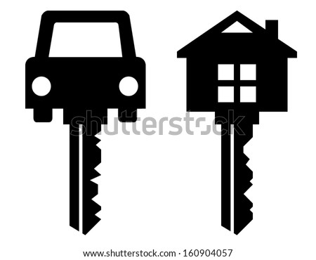 home key and car key symbols isolated on white - stock vector