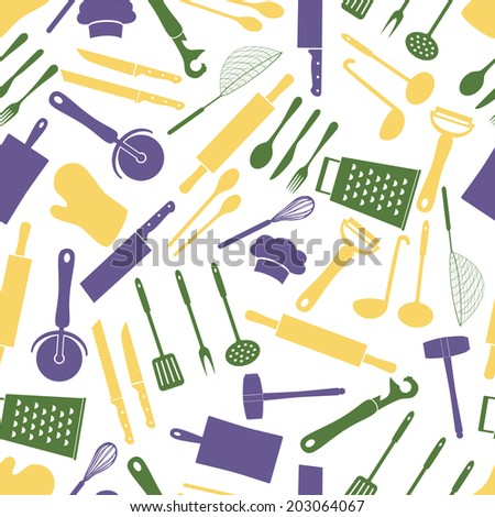 home kitchen cooking utensils color pattern eps10 - stock vector