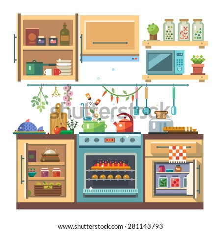 Home kitchenware, food and devices in color vector flat illustration. Stove, oven with baking, refrigerator, condiments - stock vector