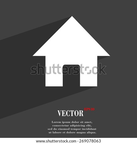 Home, Main page  icon symbol Flat modern web design with long shadow and space for your text. Vector illustration - stock vector