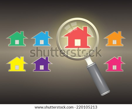 Home model and magnifier on dark background. - stock vector
